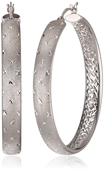 Miore Ladies 925 Sterling Silver Diamond Cut Hoop Earrings oNkUP3r8n